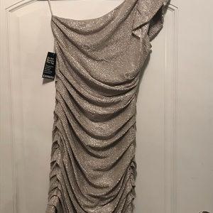Silver one shoulder dress